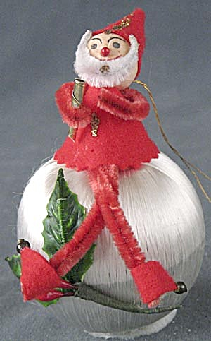 Vintage Pixie/elf On Satin Ball Christmas Ornament