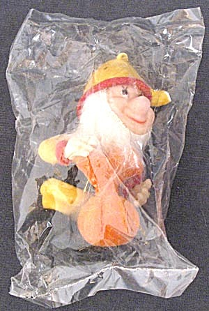 Vintage Flocked Plastic Dwarf Elf Christmas Ornament