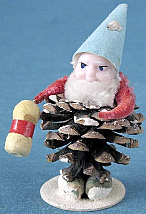 Vintage Pine Cone Elf Christmas Ornament