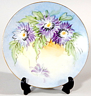Hand Painted & Signed Chrysanthemum Flowers Plate