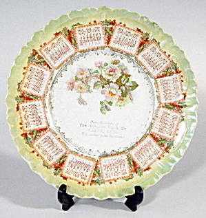 Antique 1909 Roses Calendar Plate