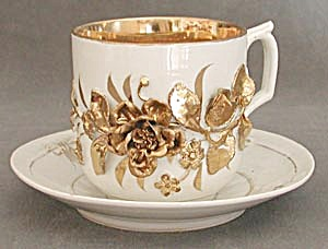 Vintage Mustache Cup With 3 Dimensional Gold Rose
