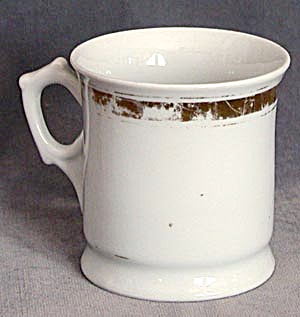 Antique White With Gold Band German Shaving Mug