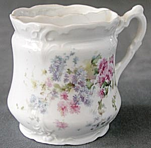 Vintage Shaving Mug With Pink & Blue Asters