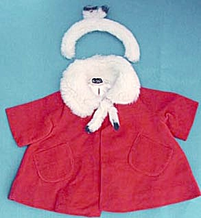 Vintage Chatty Cathy Red Velvet Coat & Headband