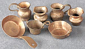 Vintage Dollhouse Copper Cookware & Mugs Set Of 10
