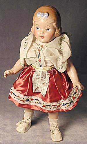 "Vintage Jointed 13 1/2"" Doll"