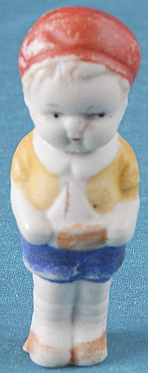 Vintage Bisque Penny Doll Boy With Sailboat