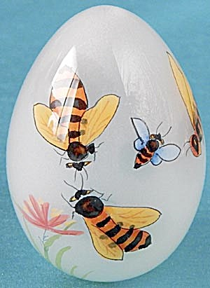 Vintage Reverse Painted Glass Egg With Bees
