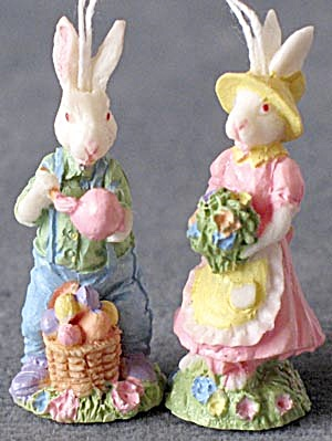 Vintage Easter Girl & Boy Bunny Ornaments