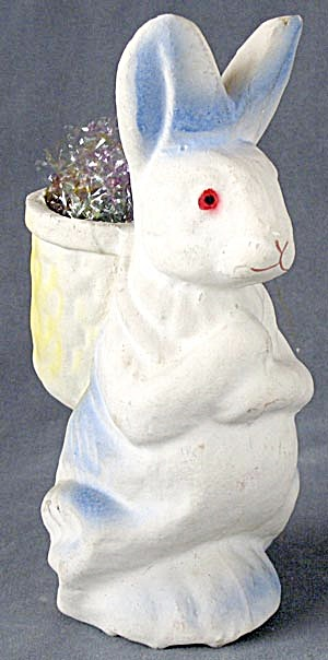Vintage Easter Bunny With Basket Candy Container