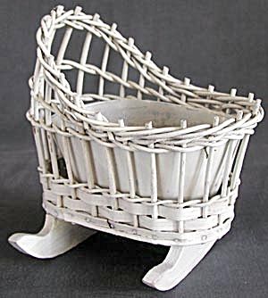 Vintage Wicker Cradle Planter