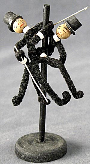 Vintage Wood & Chenille Pipe Cleaner Men Dancing