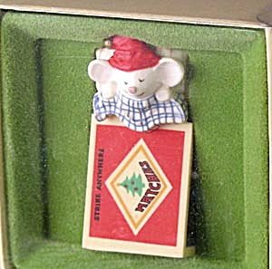 Vintage Hallmark Thimble Mouse In Match Box Ornament
