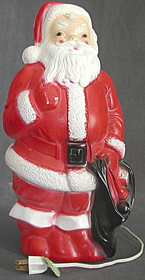 Vintage Plastic Light Up Santa