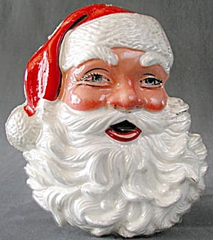 Vintage Styro Santa Claus Face Christmas Decoration