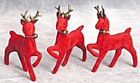 Vintage 3 Flocked Tiny Reindeer