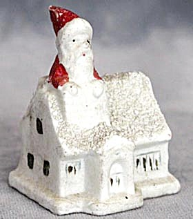 Vintage Small Bisque House Santa In Chimney Figurine