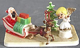 Vintage Santa In Sleigh With Angel Decoration
