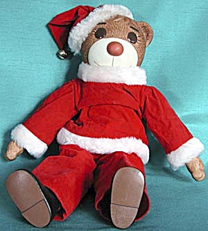Porcelain Bear Doll With Santa Mask
