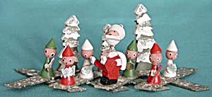 Vintage Wooden Expandable Santa & Elf Band