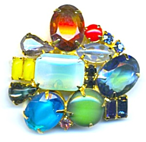 Multicolor Large Stone Brooch