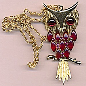Vintage Moveable Owl Necklace