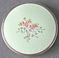 Vintage Sea Green With Roses Enamel Compact