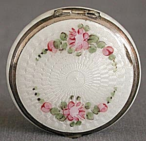 Vintage White Enamel Compact With Pink Roses