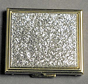 Vintage Silver Glitter Compact