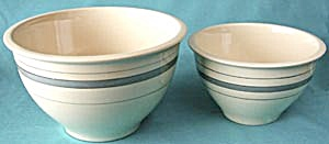 Vintage Roseville Pottery Mixing Bowls Set Of 2