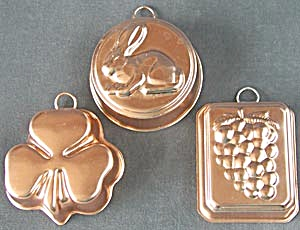 Vintage Coppertone Aluminum Jello Mold Wall Decor Set 3