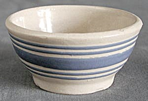 Vintage Blue Striped Small Mixing Bowl