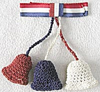 Wwii Red White & Blue Crocheted Bells Pin