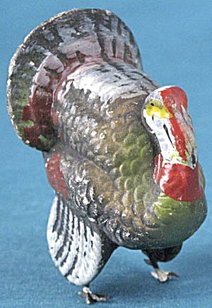 Vintage Turkey Metal Legged Candy Container