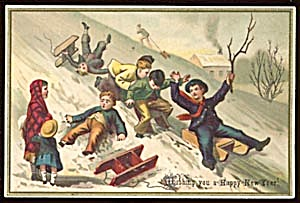 Vintage New Year Card With Children Sledding