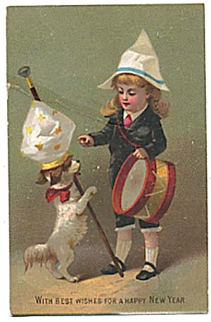 Vintage New Year Card With Child & Dog