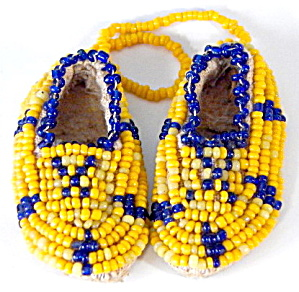 Vintage Minature Beaded Leather Moccasins