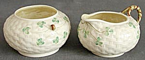 Irish Belleek Basketweave Shamrock Sugar & Creamer