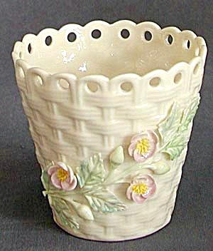 Irish Belleek Basket Spill Vase