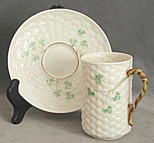 Vintage Irish Belleek Cup And Saucer