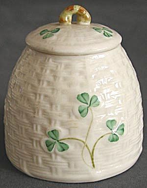 Irish Belleek Shamrock Marmalade Cup Jam Pot