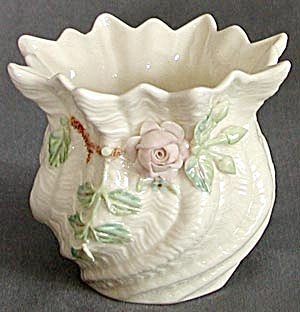 Vintage Irish Belleek Applied Pink Rose Spill Vase