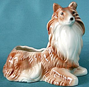 Vintage Collie Planter