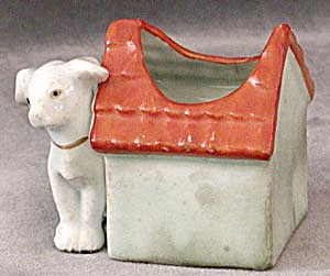 Vintage Small Dog By Dog House Planter