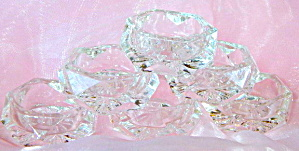 Vintage Glass Hexagon Salt Dips Set Of 6
