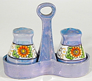 Vintage Lusterware Flower Salt And Pepper & Tray