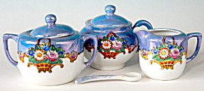 Vintage Noritake Flower 3 Piece Condiment Set