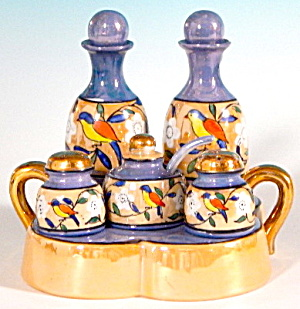 Vintage Luster Condiment Set In Tray