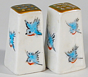 Pearlescent Bluebird Luster Salt & Pepper Shakers